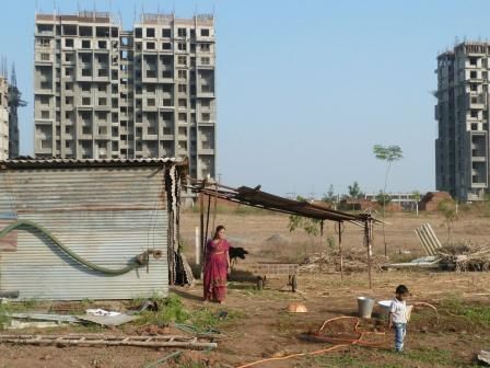 High-rise buildings on ribbon farms in Pune, 2013